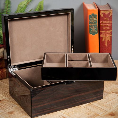 Large Dark Wood Luxury Jewellery Box Gloss Finish by Stratton of Mayfair